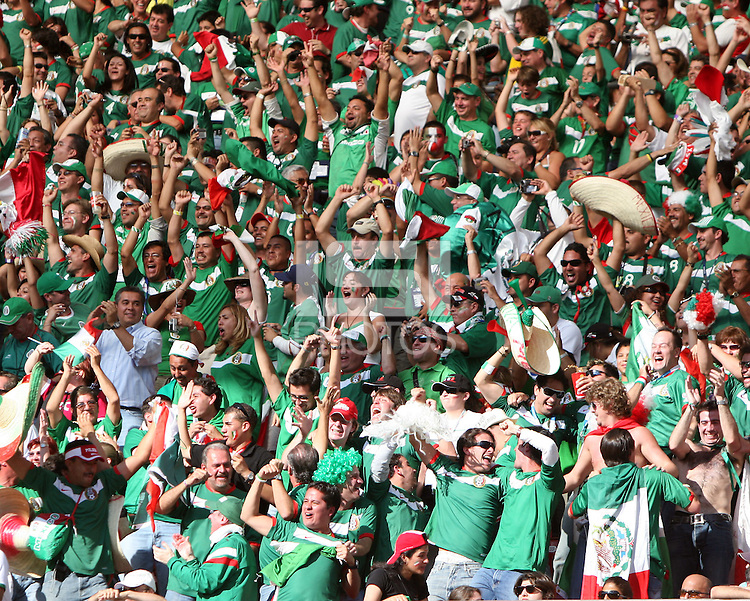 Mexican fans celebrate Mexico's third goal. Mexico defeated Iran 3-1 during a World Cup Group D match at Franken-Stadion, Nuremberg, Germany on Sunday June 11, 2006.