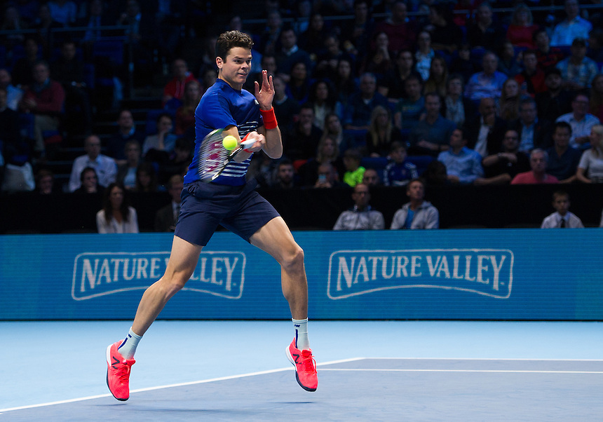 Milos Raonic of Canada in action during his victory over Dominic Thiem of Austria in their Group Ivan Lendl match today - Milos Raonic def Dominic Thiem 7-6 (7-5), 6-3<br /> <br /> Photographer Ashley Western/CameraSport<br /> <br /> International Tennis - Barclays ATP World Tour Finals - Day 5 - Thursday 17th November 2016 - O2 Arena - London<br /> <br /> World Copyright &copy; 2016 CameraSport. All rights reserved. 43 Linden Ave. Countesthorpe. Leicester. England. LE8 5PG - Tel: +44 (0) 116 277 4147 - admin@camerasport.com - www.camerasport.com