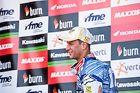 Butron race MX1 winner on the podium at Spanish Motocross Championship at Albaida circuit (Spain), 22-23 February 2014