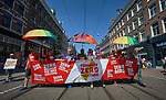 Participants in a July 23 march through the streets of Amsterdam, the Netherlands, marking the opening of the 2018 International AIDS Conference.