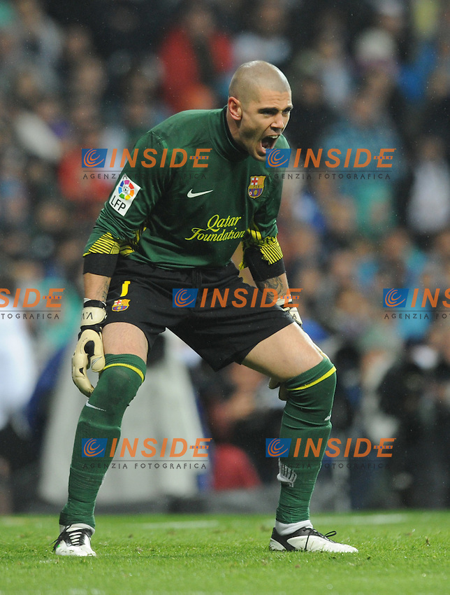 "Joie de Victor Valdes (Barcelone)  .Madrid 10/12/2011 Stadio ""Santiago Bernabeu"".Liga Spagnola.Real Madrid Vs Barcellona.Foto Insidefoto / Paco Largo / Panoramic.ITALY ONLY"