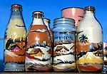 Artesanato garrafas com areia colorida, Morro Branco. CE. Foto de Manuel Lourenço.