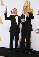28 February 2016 - Hollywood, California - Jonas Rivera, Pete Docter. 88th Annual Academy Awards presented by the Academy of Motion Picture Arts and Sciences held at Hollywood & Highland Center. Photo Credit: Byron Purvis/AdMedia