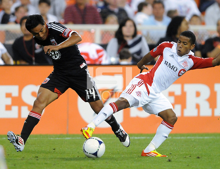 D.C. United Andy Najar (14) goes against Toronto FC defender Ashtone Morgan (5) D.C. United defeated Toronto FC 3-1 at RFK Stadium, Saturday May 19, 2012.