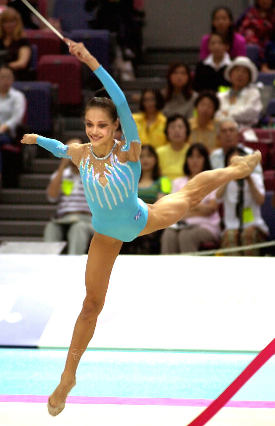 01 OCTOBER 1999 - OSAKA, JAPAN:Irina Tchachina of Russia performs with ribbon at the 1999 World Championships in Osaka, Japan.  Irina went on to become 2004 Athens silver medalist.