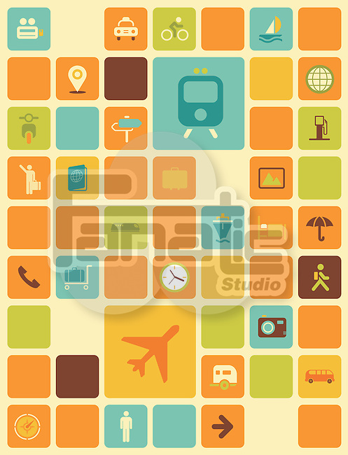 Illustration of travel icons over colored background