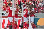 12.05.2018, OPEL Arena, Mainz, GER, 1.FBL, 1. FSV Mainz 05 vs SV Werder Bremen<br /> <br /> im Bild<br /> Jean-Philippe Gbamin (FSV Mainz 05 #25) bejubelt seinen Treffer zum 1:0 mit Pablo de Blasis (FSV Mainz 05 #32) und Teamkollegen, Levin &Ouml;ztunali / Oetztunali (FSV Mainz 05 #08), Yoshinori Muto (FSV Mainz 05 #09), <br /> <br /> Foto &copy; nordphoto / Ewert
