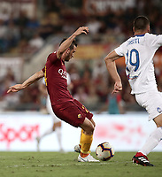 Calcio, Serie A: Roma - Atalanta, Stadio Olimpico, 27 agosto, 2018.<br /> Roma's Alessandro Florenzi scores despite Atalanta's Berat Dimsiti (r) during the Italian Serie A football match between Roma and Atalanta at Roma's Stadio Olimpico, August 27, 2018.<br /> UPDATE IMAGES PRESS/Isabella Bonotto