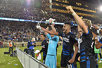 Stanford, CA - Saturday July 01, 2017: Chris Wondolowski, David Bingham, Anibal Godoy, Florian Jungwirth, Victor Bernardez during a Major League Soccer (MLS) match between the San Jose Earthquakes and the Los Angeles Galaxy at Stanford Stadium.