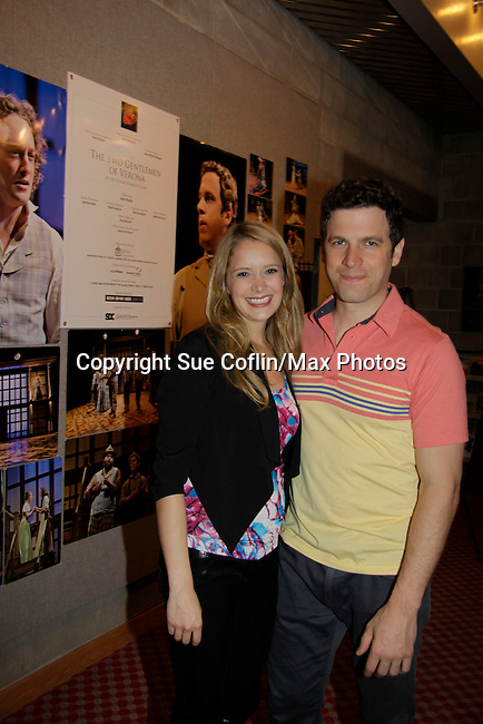 """As The World Turns Marnie Schulenburg and husband Zack Robidas  both star as """"Silvia"""" and Proteus"""" in """"The Two Gentlemen of Verona"""" on opening night at the Pennsylvania Shakespeare Festival 2014 in Center Valley, Pennsylvania. (Photo by Sue Coflin/Max Photos)"""