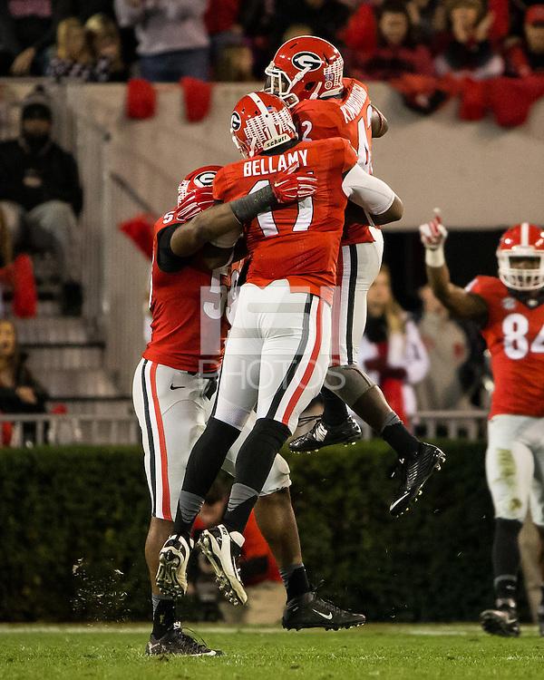 ATHENS, GEORGIA - November 21, 2015: University of Georgia Bulldogs play the Georgia Southern Eagles at Sanford Stadium. Final score University of Georgia 23, Georgia Southern 17 in overtime.