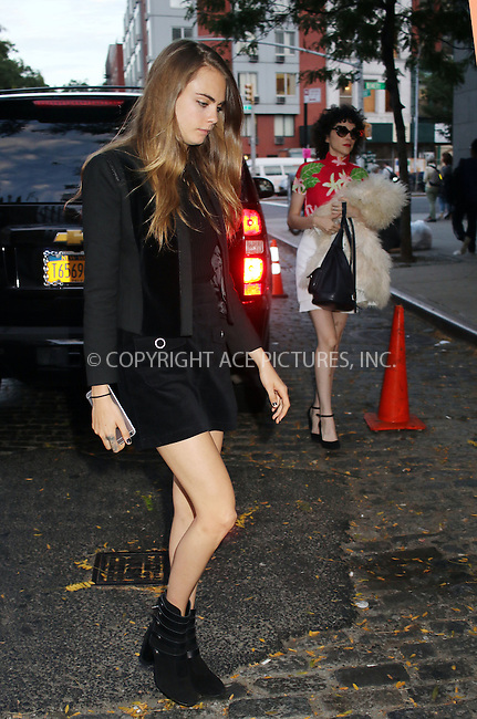 WWW.ACEPIXS.COM<br /> <br /> September 28 2015, New York City<br /> <br /> Cara Delevingne and St. Vincent went to dinner in the East Village on September 28 2015 in New York City<br /> <br /> By Line: Philip Vaughan/ACE Pictures<br /> <br /> ACE Pictures, Inc.<br /> tel: 646 769 0430<br /> Email: info@acepixs.com<br /> www.acepixs.com