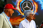 Niki Lauda (AUT) 3x F1 World Champion, Mercedes-Benz non-executive chairman of the board of directors - Bernie Ecclestone (GBR)<br /> for the complete Middle East, Austria & Germany Media usage only!<br />  Foto © nph / Mathis