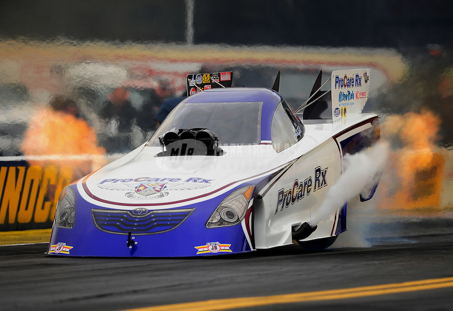 Oct. 2, 2011; Mohnton, PA, USA: NHRA funny car driver Leah Pruett during the Auto Plus Nationals at Maple Grove Raceway. Mandatory Credit: Mark J. Rebilas-
