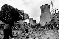 "Poland. Silesia. Bedzin. An old woman takes care of her vegetable garden. She stands near an electrical power plant which is ran by burning cokes. "" Electrownia Laciska"" is the factory's name. Major polluted area due to heavy metals supended in the air. Bedzin is a small town, distant 20 km from Katowice. © 1991 Didier Ruef"
