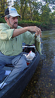 NWA Democrat-Gazette/FLIP PUTTHOFF <br /> Tonkinson caught this Elk River largemouth bass Sept. 5 2019 with a tube bait. Smallmouth bass are the species he usually catches on the stream.