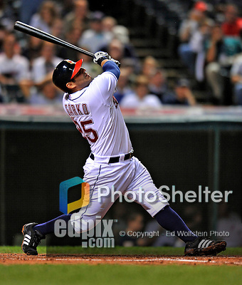 12 September 2008: Cleveland Indians' first baseman Ryan Garko in action against the Kansas City Royals at Progressive Field in Cleveland, Ohio. The Indians defeated the Royals 12-5 in the first game of their 4-game series...Mandatory Photo Credit: Ed Wolfstein Photo