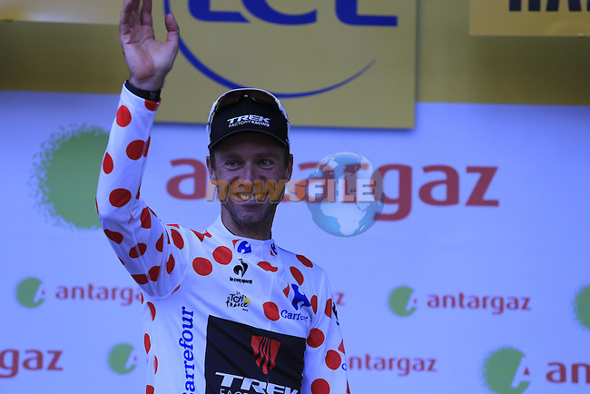 Jens Voigt (GER) Trek Factory Racing wins the 1st Polka Dot Jersey and the combativity prize at the end of the 2014 Tour de France running 190.5km from Leeds to Harrogate. 5th July 2014.<br /> Picture: Eoin Clarke www.newsfile.ie
