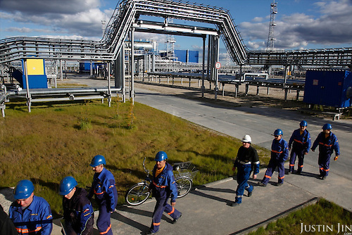 Workers go home at the end of the working day in Novy Urengoi. .