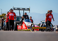 Oct 26, 2018; Las Vegas, NV, USA; NHRA top fuel driver Doug Kalitta during qualifying for the Toyota Nationals at The Strip at Las Vegas Motor Speedway. Mandatory Credit: Mark J. Rebilas-USA TODAY Sports
