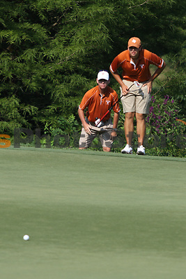 University of Texas freshman Beau Hossler eyes a putt during the Carpet Capital Collegiate at The Farm Golf Club in Rocky Face, Ga., on Sunday, Sept. 8. The Longhorns return to The Farm as defending champions after shooting a 13-under 851 in 2012.<br /> <br /> Photo by Patrick Smith