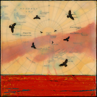 Encaustic painting with photography of swirling birds over antique map with red sky and ocean.