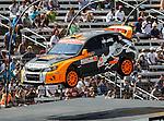 Bucky Lasek (81) driver of the Subaru Puma Rallycross car, in action during the Global Rally Cross race, the Hoon Kaboom, at Texas Motor Speedway in Fort Worth,Texas. Global Rally Cross driver Marcos Gronholm (3) wins the Hoon Kaboom race..