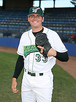Garrett Parcell of the Jamestown Jammers, Class-A affiliate of the Florida Marlins, during New York-Penn League baseball action.  Photo by Mike Janes/Four Seam Images