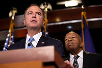 Intelligence Committee Chairman Adam Schiff (Democrat of California) and House Oversight and Government Reform Committee Chairman Elijah Cummings (Democrat of Maryland) attend a press conference on Capitol Hill in Washington D.C., U.S. on June 11, 2019.  The press conference followed a House vote, where lawmakers passed a bill which allows the House Judiciary Committee to call on Federal judges to enforce Congressional subpoenas. Photo Credit: Stefani Reynolds/CNP/AdMedia