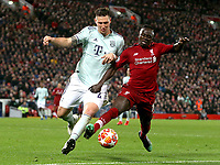 Bayern Munich's Niklas Sule battles with Liverpool's Sadio Mane<br /> <br /> Photographer Rich Linley/CameraSport<br /> <br /> UEFA Champions League Round of 16 First Leg - Liverpool and Bayern Munich - Tuesday 19th February 2019 - Anfield - Liverpool<br />  <br /> World Copyright © 2018 CameraSport. All rights reserved. 43 Linden Ave. Countesthorpe. Leicester. England. LE8 5PG - Tel: +44 (0) 116 277 4147 - admin@camerasport.com - www.camerasport.com