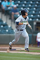 Steven Kwan (1) of the Lynchburg Hillcats hustles down the first base line against the Winston-Salem Dash at BB&T Ballpark on May 9, 2019 in Winston-Salem, North Carolina. The Dash defeated the Hillcats 4-1. (Brian Westerholt/Four Seam Images)
