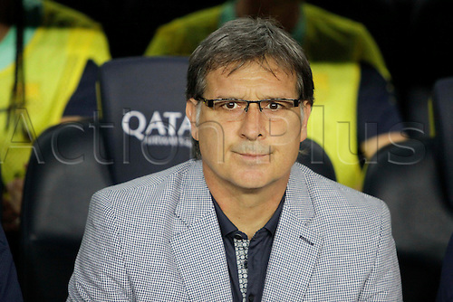 02.08.2013 Barcelona, Spain. Joan Gamper Trophee. Picture shows Tata Martino in action during game between FC Barcelona against Santos at Camp Nou