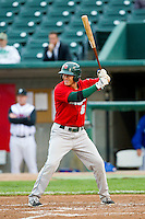 Corey Adamson (5) of the Fort Wayne TinCaps at bat against the Lansing Lugnuts at Cooley Law School Stadium on June 5, 2013 in Lansing, Michigan.  The TinCaps defeated the Lugnuts 8-5.  (Brian Westerholt/Four Seam Images)
