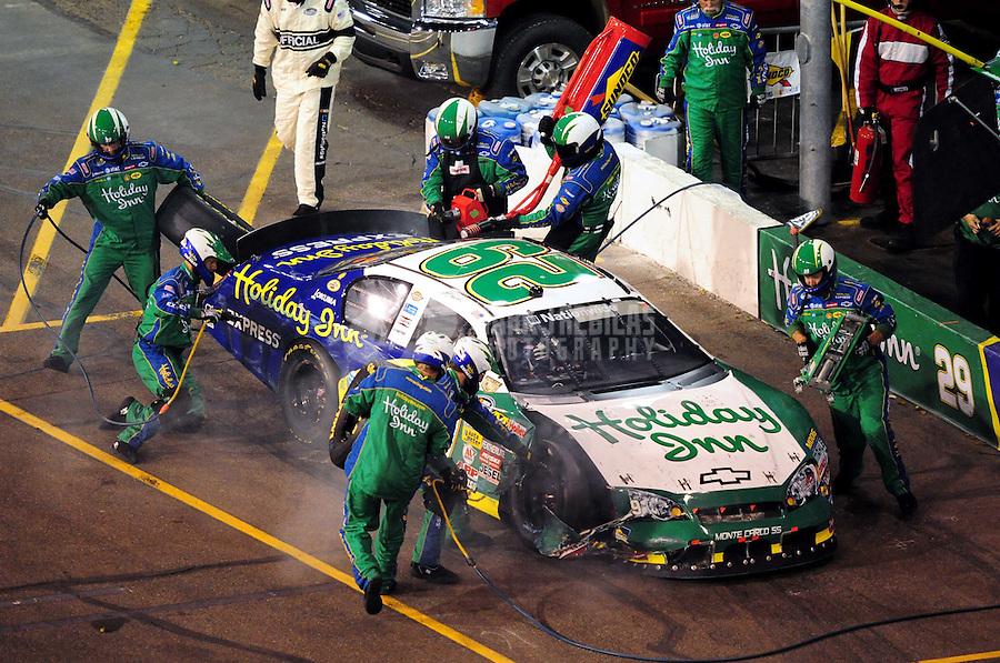 Apr 11, 2008; Avondale, AZ, USA; NASCAR Nationwide Series driver Jeff Burton pits after crashing during the Bashas Supermarkets 200 at the Phoenix International Raceway. Mandatory Credit: Mark J. Rebilas-