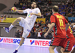 13.01.2013 Granollers, Spain. IHF men's world championship, prelimanary round. Picture show Nikola Karabatic   in action during game between France vs Montenegro at Palau d'esports de Granollers