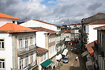 Street in town centre from raised position looking down, Valença do Minho, Portugal