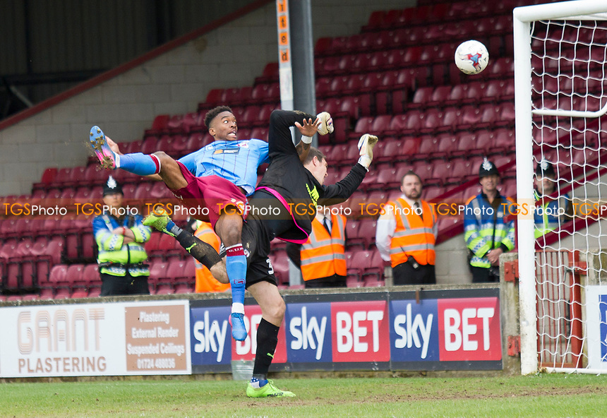 Ivan Toney rises high to score for Scunthorpe during Scunthorpe United vs Chesterfield, Sky Bet EFL League 1 Football at Glanford Park on 17th April 2017