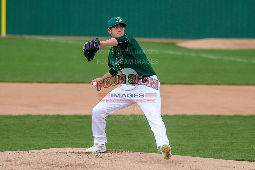 Beloit Snappers pitcher Brendan Butler (4) delivers a pitch during a Midwest League game against the Peoria Chiefs on April 15, 2017 at Pohlman Field in Beloit, Wisconsin.  Beloit defeated Peoria 12-0. (Brad Krause/Four Seam Images)