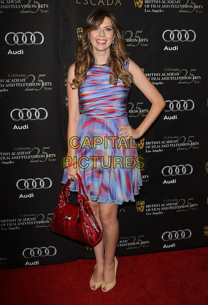 Carly Steel.18th Annual BAFTA Los Angeles Awards Season Tea Party held at the Four Seasons Hotel, Beverly Hills, California, USA..January 14th, 2012.full length blue red print bag purse sleeveless hand on hip dress .CAP/ADM/KB.©Kevan Brooks/AdMedia/Capital Pictures.