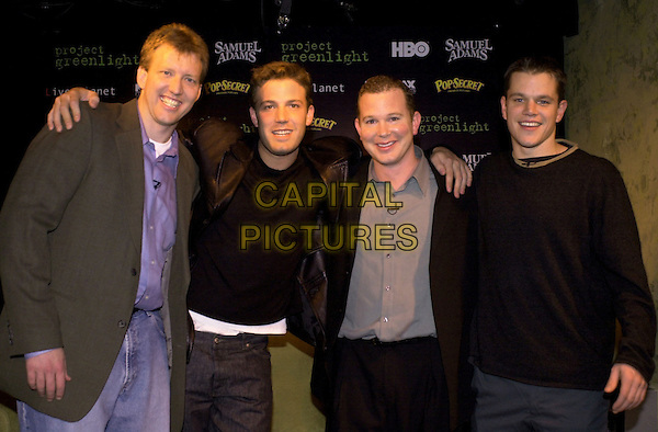 PROJECT GREENLIGHT..Chris Moore (exec prod).Ben Affleck.Pete Jones.Matt Damon.Ref: FB.Supplied by Capital Pictures.Tel: +44 (0)20 7253 1122.sales@capitalpictures.com.www.capitalpictures.com.(FB/FILMSD10)