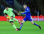 Leicester's Jamie Vardy tussles with Manchester City's Aleksander Kolarov<br /> <br /> Barclays Premier League- Leicester City vs Manchester City - King Power Stadium - England - 29th December 2015 - Picture - David Klein/Sportimage