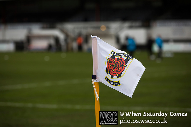 Chorley 2 Altrincham 0, 21/01/2017. Victory Park, National League North. A corner flag with the home club's crest at Victory Park, before Chorley played Altrincham in a Vanarama National League North fixture. Chorley were founded in 1883 and moved into their present ground in 1920. The match was won by the home team by 2-0, watched by an above-average attendance of 1127. Photo by Colin McPherson.