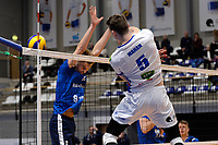 GRONINGEN - Volleybal, Lycurgus - Sliedrecht Sport, Eredivisie,  seizoen 2019-2020, 07-12-2019, Lycurgus speler Collin Mahan slaat de bal langs het blok