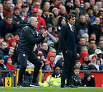 Jose Mourinho manager of Manchester United reacts as Antonio Conte manager of Chelsea remains impassive during the English Premier League match at Old Trafford Stadium, Manchester. Picture date: April 16th 2017. Pic credit should read: Simon Bellis/Sportimage