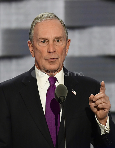 Former New York City Mayor Michael Bloomberg makes remarks during the third session of the 2016 Democratic National Convention at the Wells Fargo Center in Philadelphia, Pennsylvania on Wednesday, July 27, 2016.<br /> Credit: Ron Sachs / CNP/MediaPunch<br /> (RESTRICTION: NO New York or New Jersey Newspapers or newspapers within a 75 mile radius of New York City)