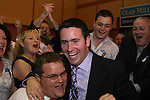 Damien English, Fine Gael who took the final seat in Meath West after the 7th count at The Counting Station, Navan...Photo NEWSFILE/Jenny Matthews.(Photo credit should read Jenny Matthews/NEWSFILE)....This Picture has been sent you under the condtions enclosed by:.Newsfile Ltd..The Studio,.Millmount Abbey,.Drogheda,.Co Meath..Ireland..Tel: +353(0)41-9871240.Fax: +353(0)41-9871260.GSM: +353(0)86-2500958.email: pictures@newsfile.ie.www.newsfile.ie.FTP: 193.120.102.198.