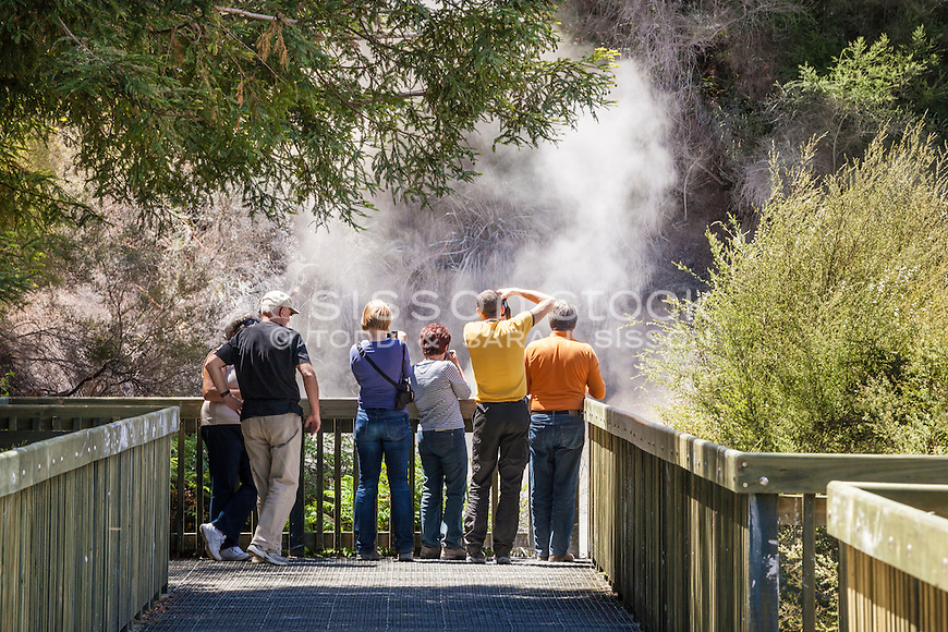 Tourists photograph the Champagne Pool, Wai O Tapu Thermal Wonderland, Rotorua, New Zealand - stock photo, canvas, fine art print at geothermal area, Rotorua, North Island, New Zealand - stock photo, canvas, fine art print