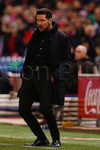 21.02.2016. Madrid, Spain.  Diego Pablo Simeone Coach of Atletico de Madrid La Liga football match between Atletico de Madrid and Villerreal CF at the Vicente Calderon stadium in Madrid, Spain, February 21, 2016 .