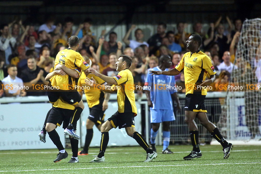 Maidstone players celebrate Frannie Collin's goal - Maidstone United vs Billericay Town - Ryman League Premier Division Football at the Gallagher Stadium, Maidstone, Kent - 20/08/13 - MANDATORY CREDIT: Paul Dennis/TGSPHOTO - Self billing applies where appropriate - 0845 094 6026 - contact@tgsphoto.co.uk - NO UNPAID USE