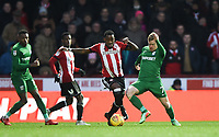 Preston's Daryl Horgan battles with Brentford's Josh Clarke<br /> <br /> Photographer Jonathan Hobley/CameraSport<br /> <br /> The EFL Sky Bet Championship - Brentford v Preston North End - Saturday 10th February 2018 - Griffin Park - Brentford<br /> <br /> World Copyright &copy; 2018 CameraSport. All rights reserved. 43 Linden Ave. Countesthorpe. Leicester. England. LE8 5PG - Tel: +44 (0) 116 277 4147 - admin@camerasport.com - www.camerasport.com
